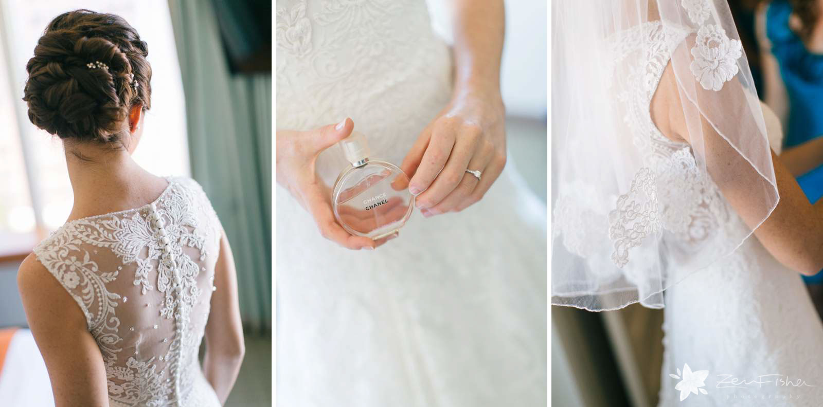 Detail of lace on bride's dress, bride holding perfume bottle, lace on bride's veil