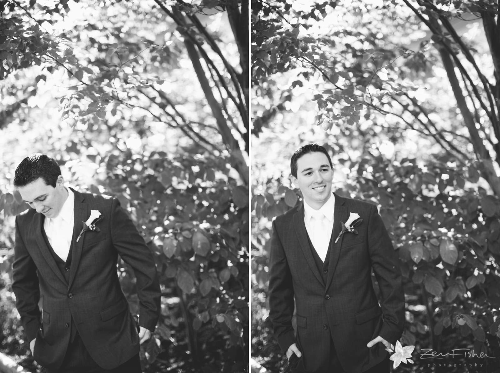 Black and white portraits of groom waiting for bride to have their first look, standing next to tree