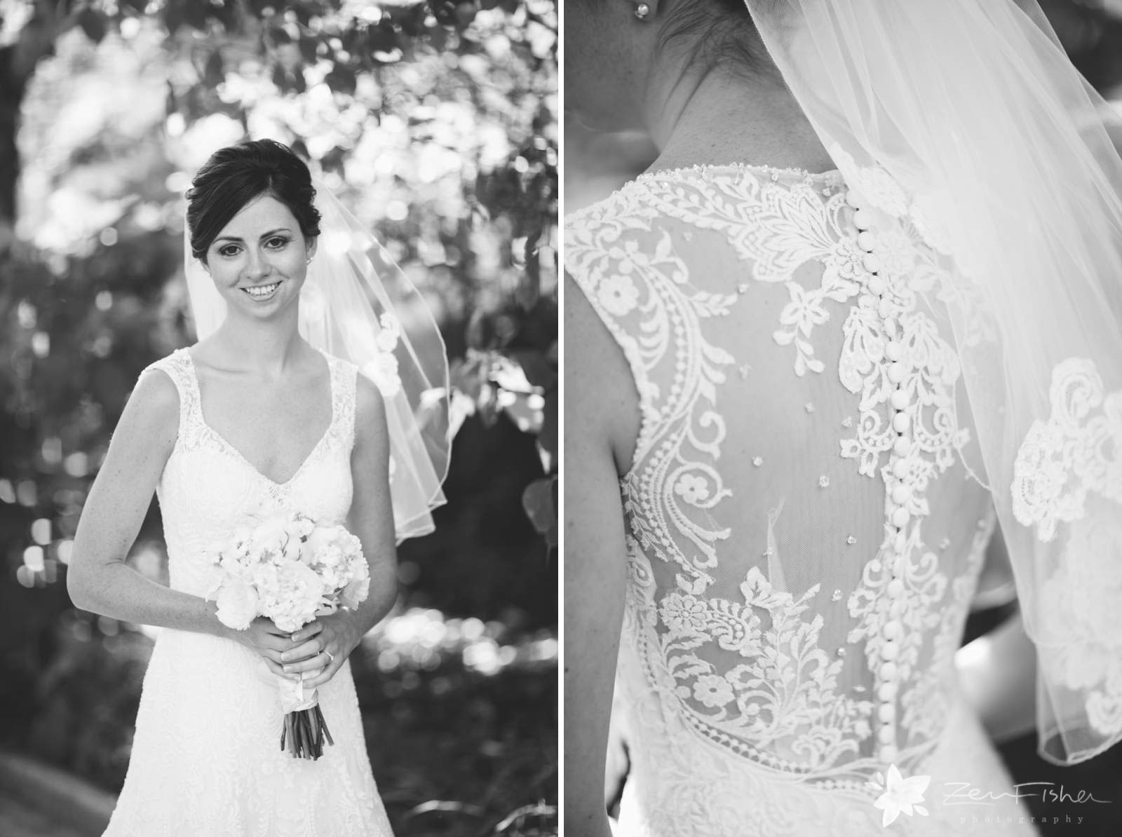 Black and white portrait of bride, detail of the back of bride's dress, white lace wedding dress.