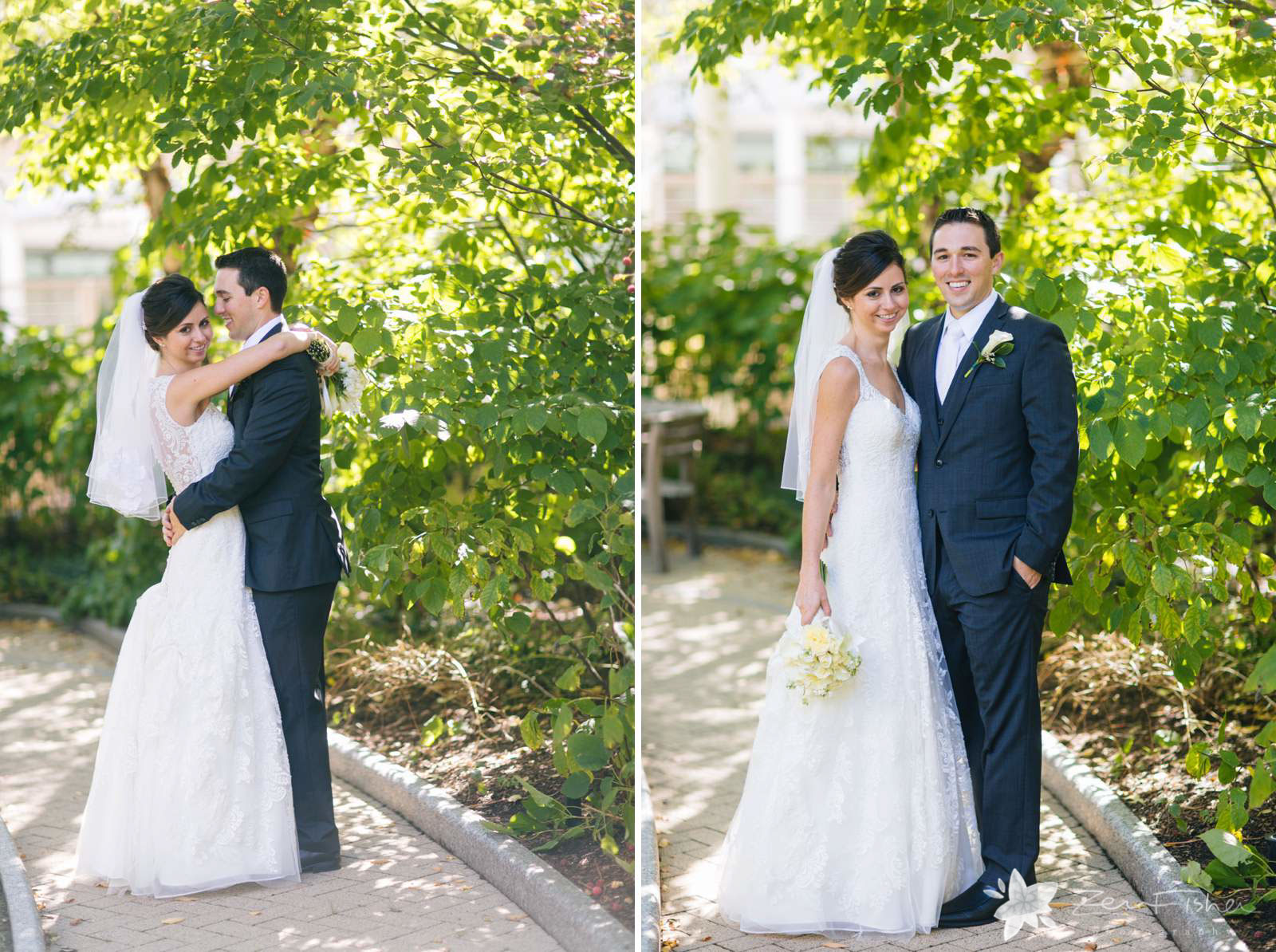 Bride and groom portraits in garden in the fall with soft natural light.