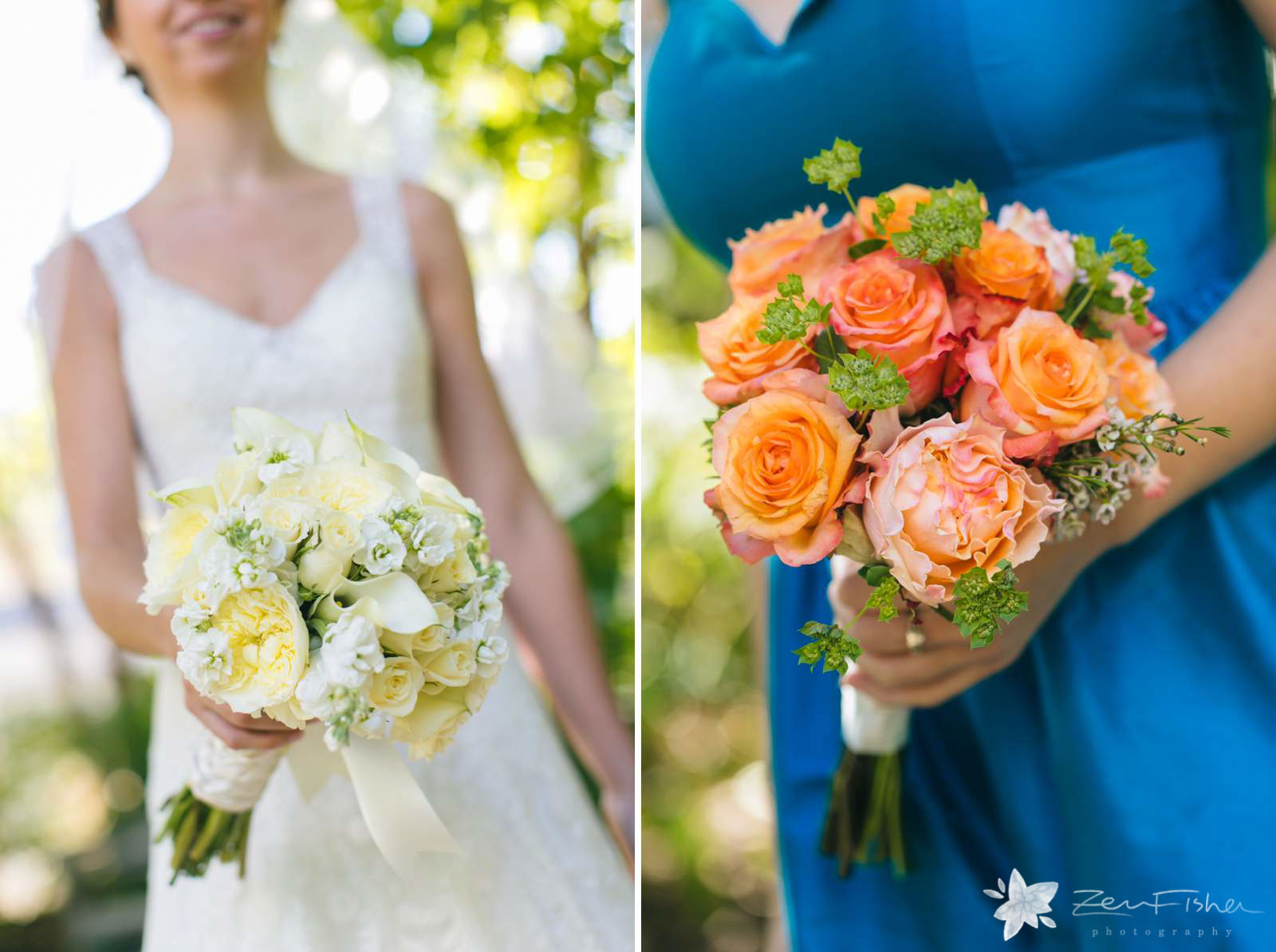Detail of bride bouquet with yellow and white roses, bridesmaids bouquets with pink and orange roses