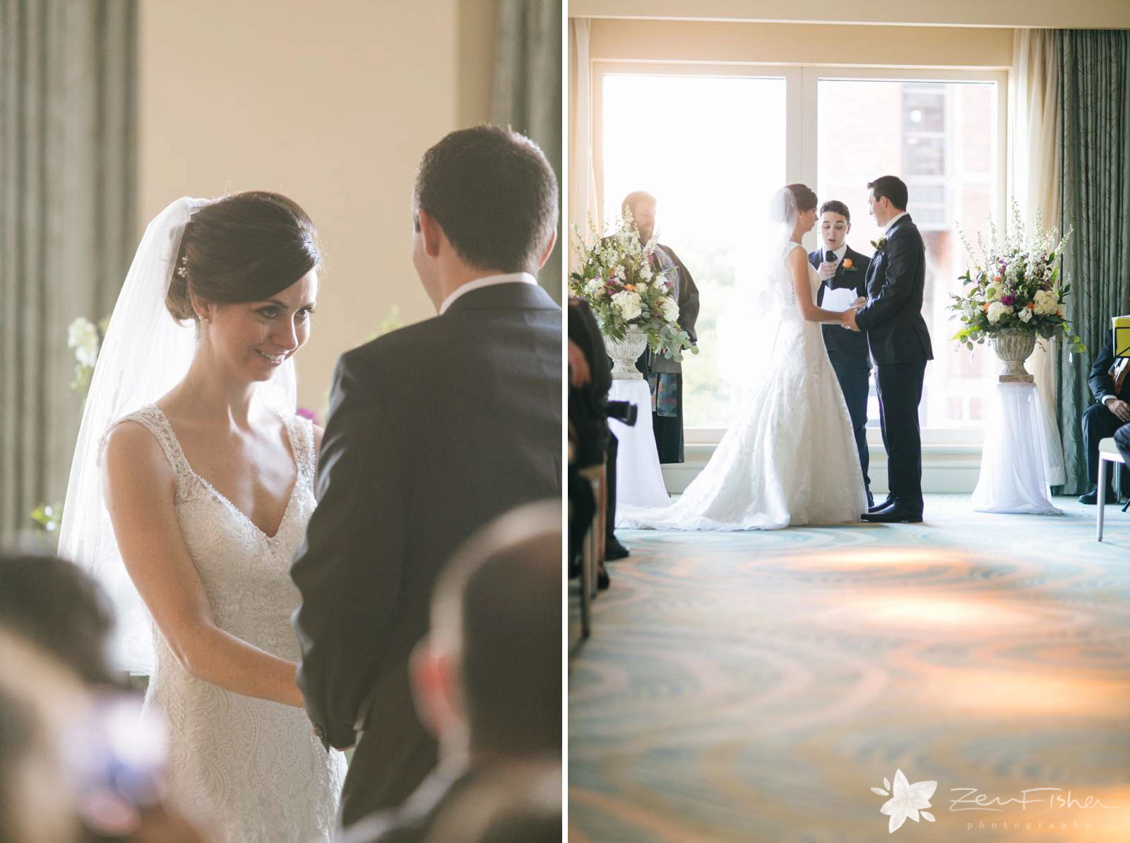 Bride's reaction during ceremony, bride smiling up at groom, best man does a reading during ceremony