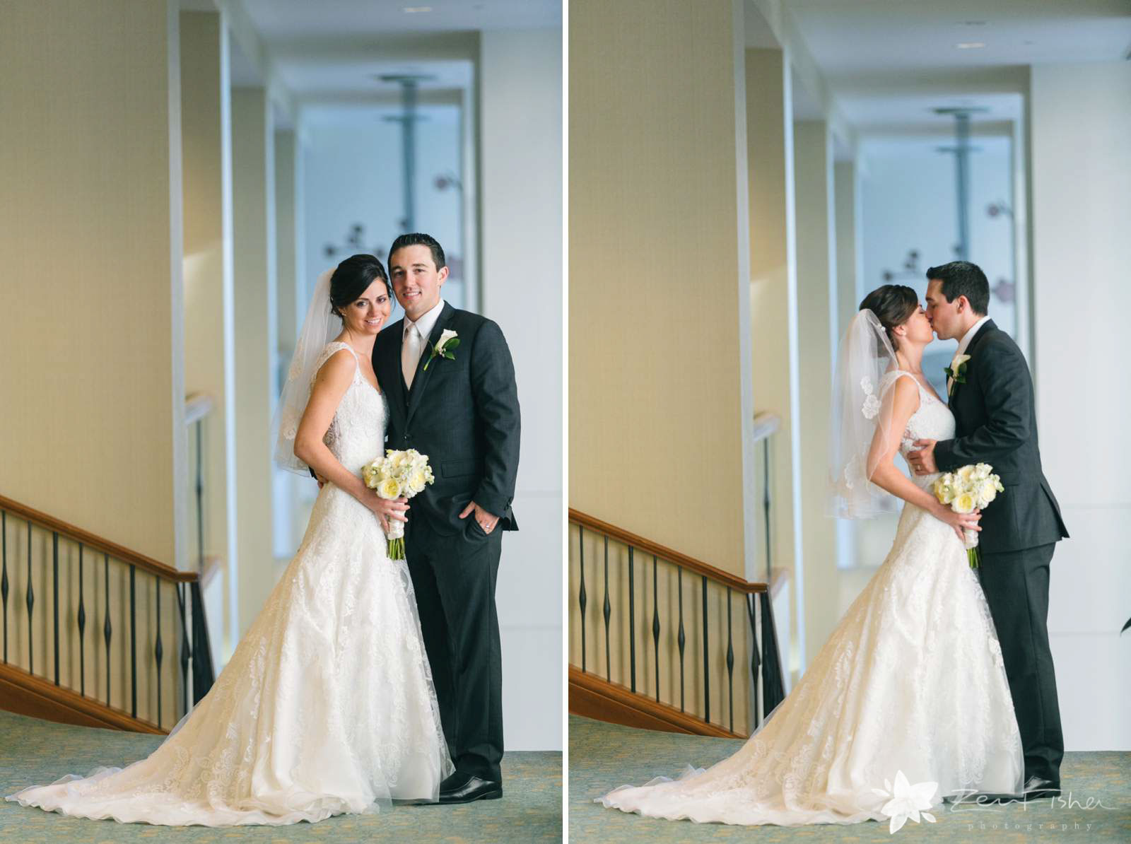 Bride and groom portraits after ceremony, bride and groom kissing, natural light