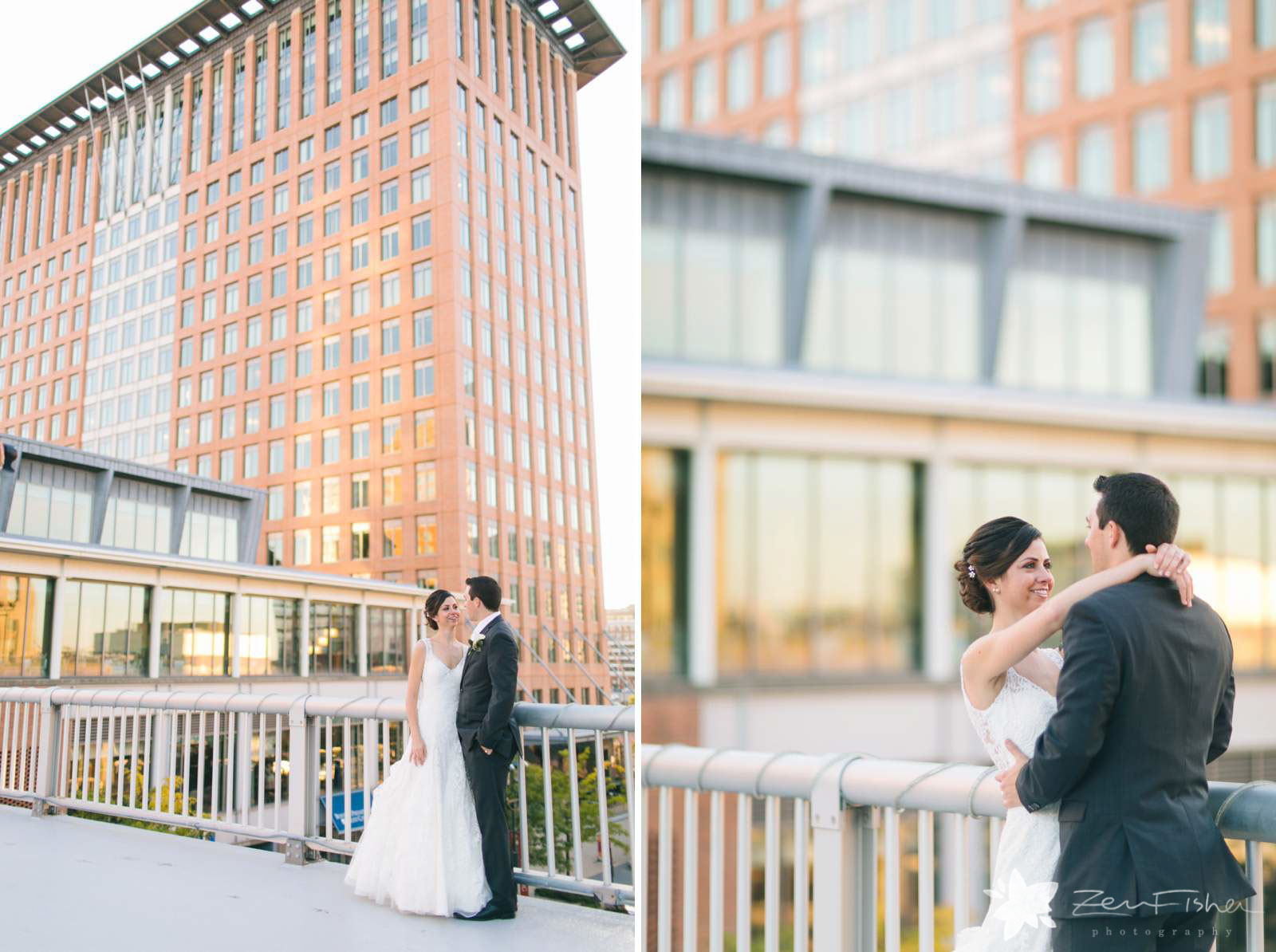 Bride and groom portraits standing on bridge in fort point outside Boston Harbor Hotel