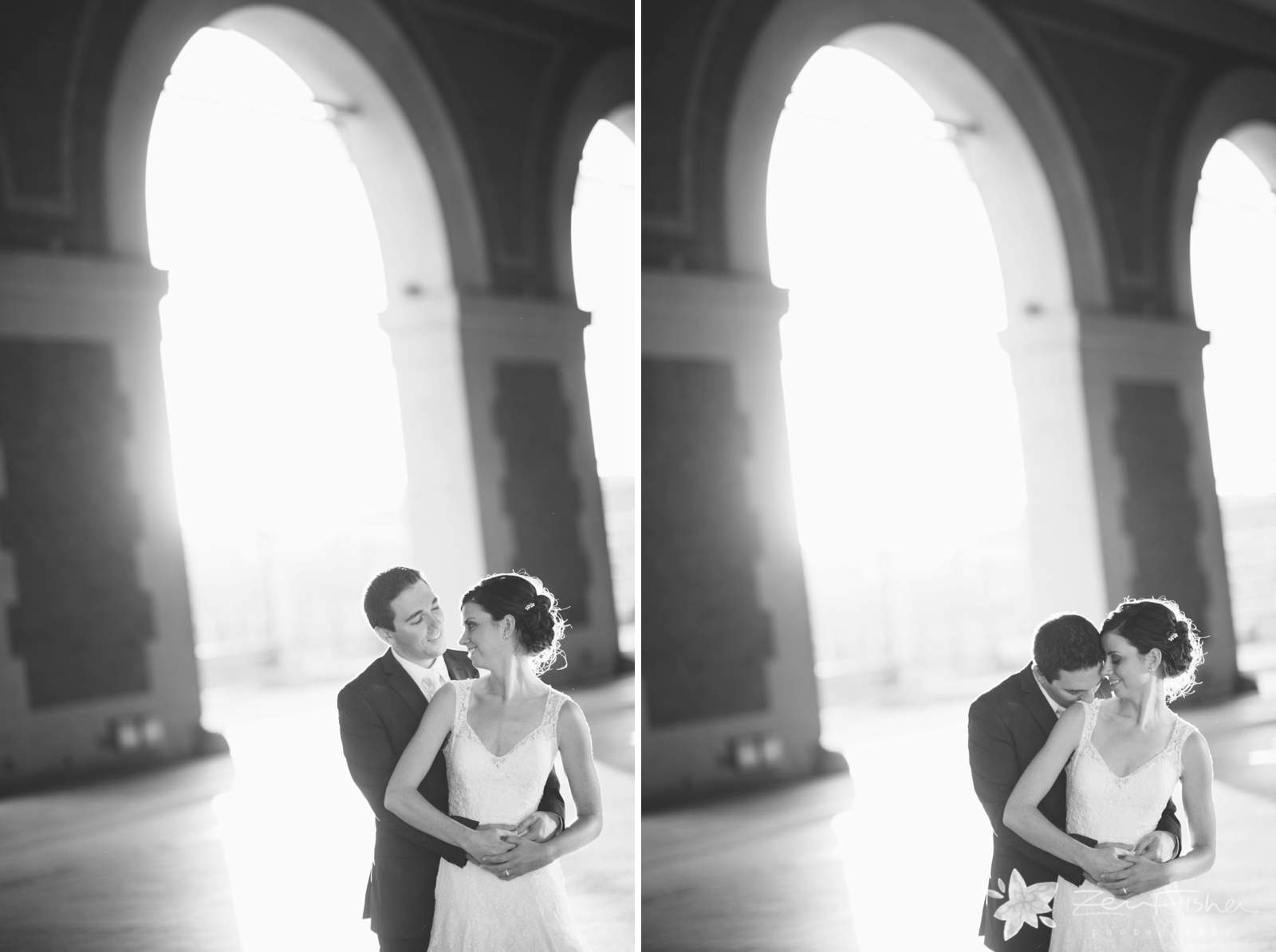 Black and white romantic bride and groom portraits with architectural elements and ethereal light.