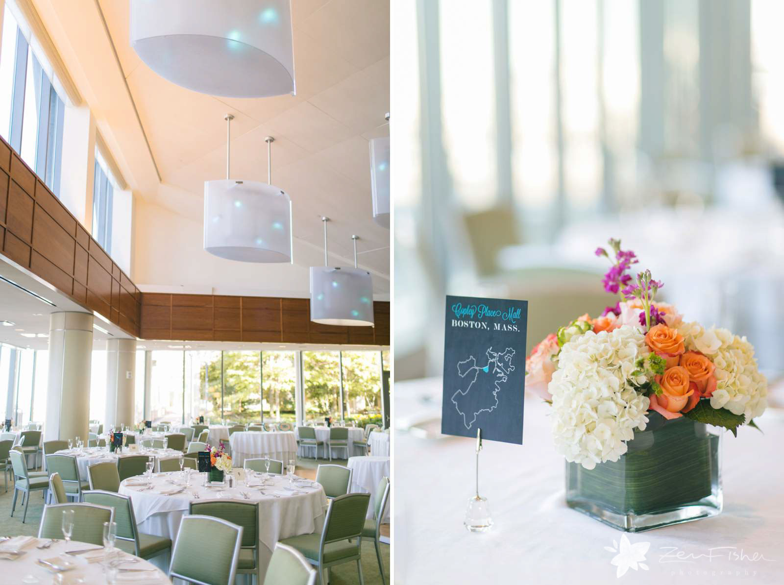 Modern reception hall at Boston Seaport Hotel, detail of centerpieces with white hydrangeas