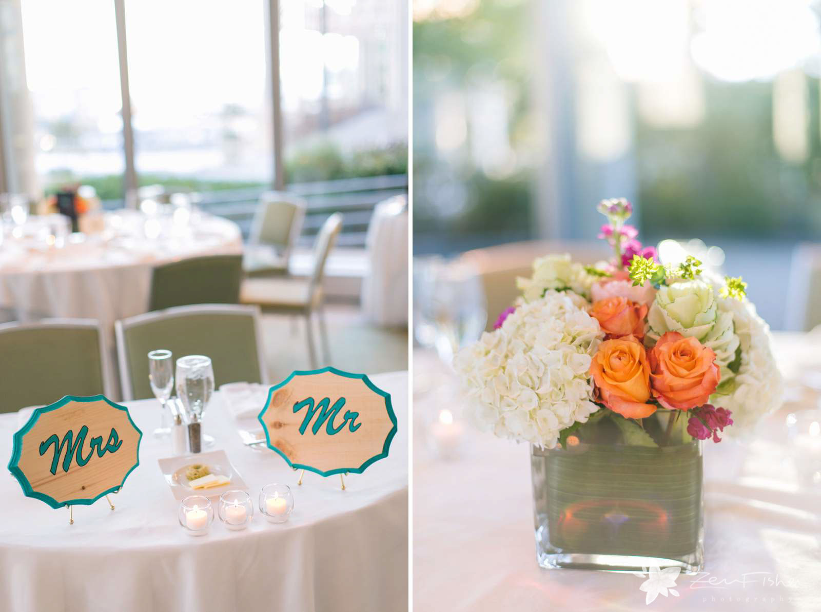 Sweetheart table with woodcarved Mr. and Mrs. signs, floral centerpieces with orange roses