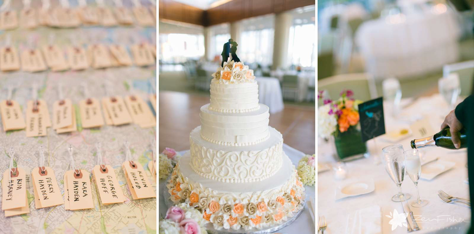 Detail of whimsical wedding cake, hand-written placecards, waiter pouring champagne for a toast