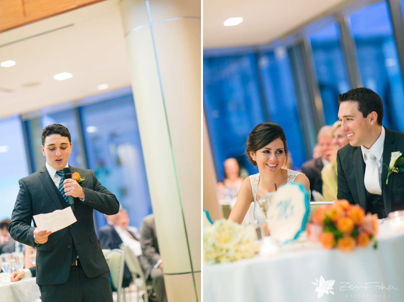Best man making a toast at wedding reception, bride and groom laughing and reacting to speeches