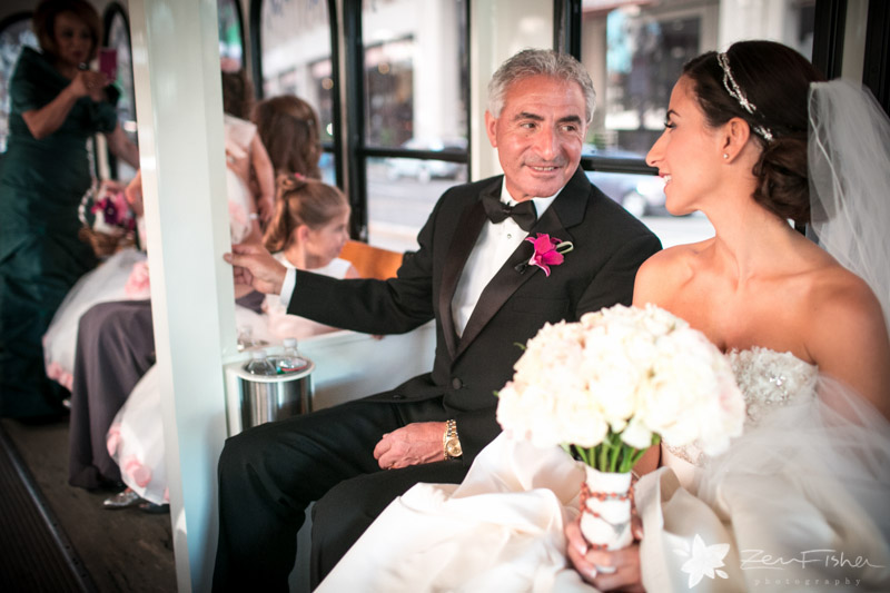 The State Room Boston Wedding, Bride, father of the bride, wedding trolley, boston bridal