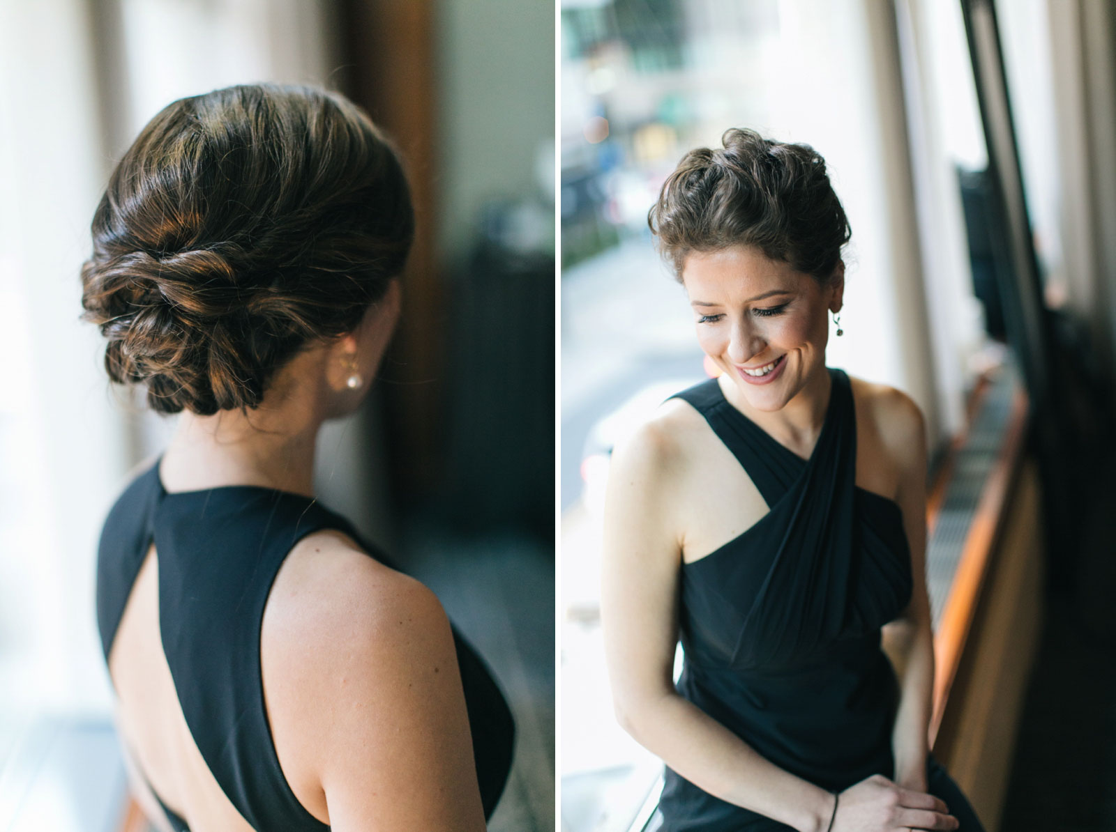 Portraits of bridesmaids and bridesmaids hairdo in natural light in bridal suite at Ritz-Carlton