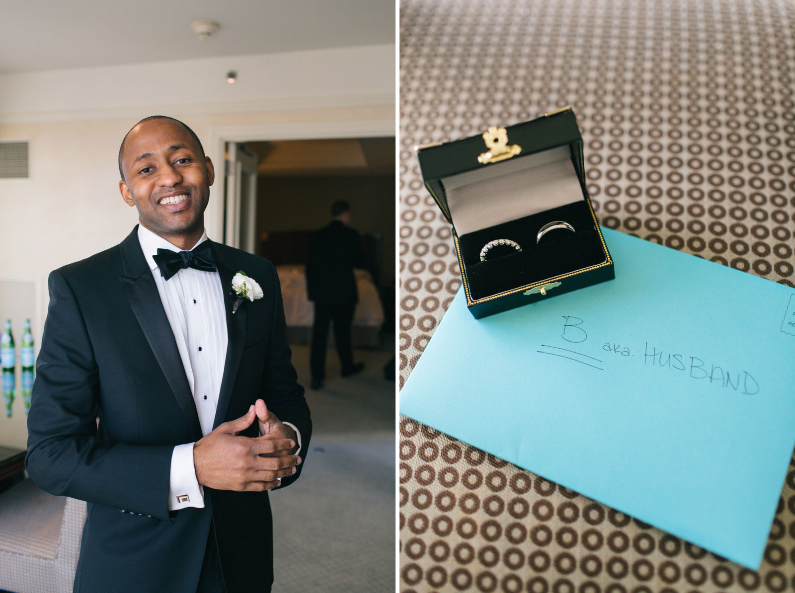 portrait of groom while getting ready, detail shot of rings in ring box and bride's letter to groom