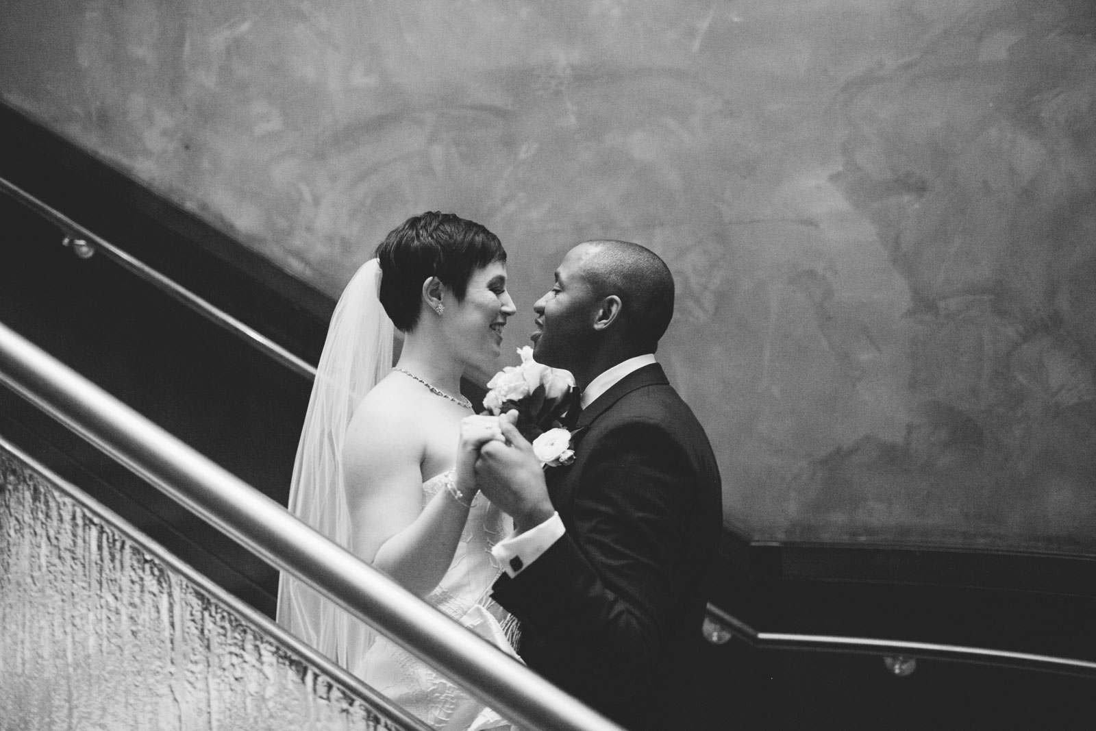 black and white portrait of bride and groom during their first look at the Ritz Carlton Boston