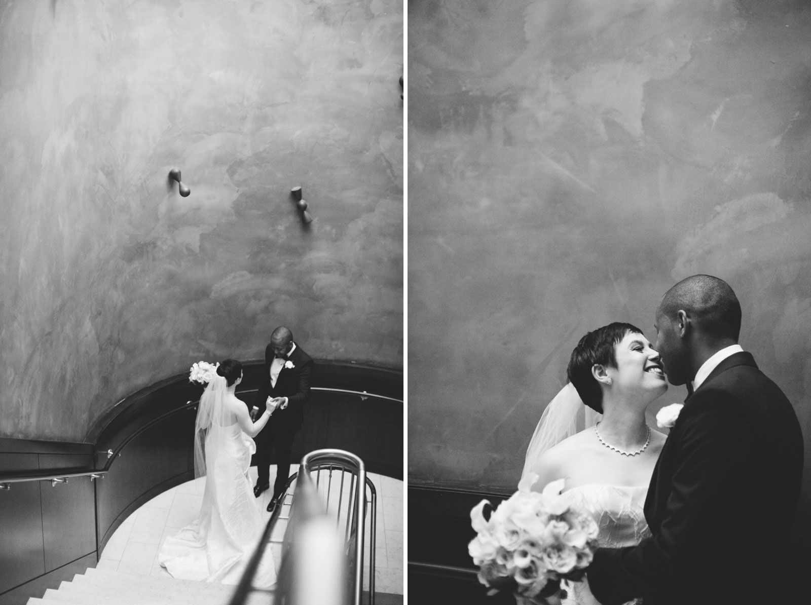 black and white portraits of bride and groom during their first look at the Ritz Carlton Boston