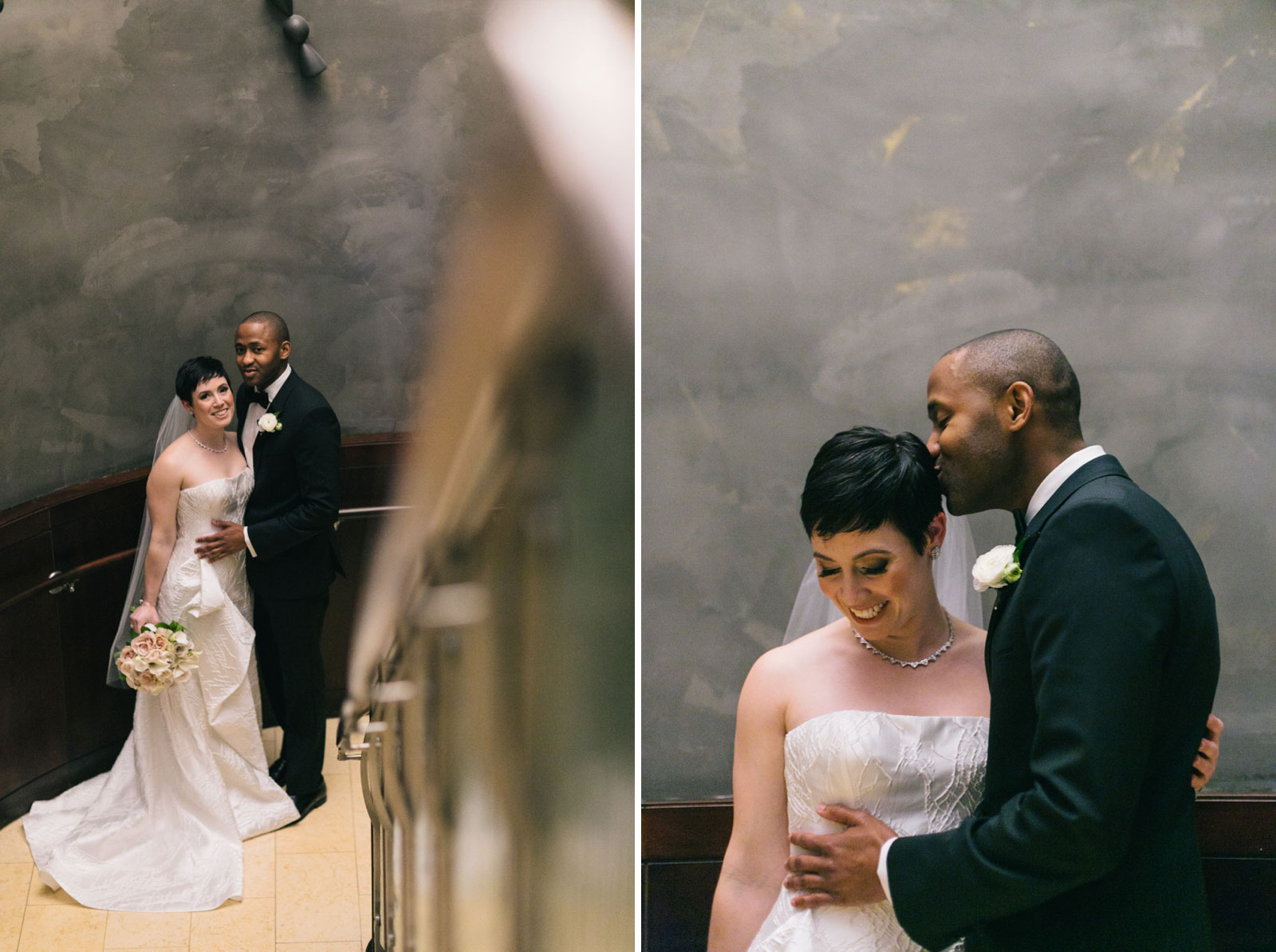 bride and groom portraits on grand staircase during first look at Ritz-Carlton Boston