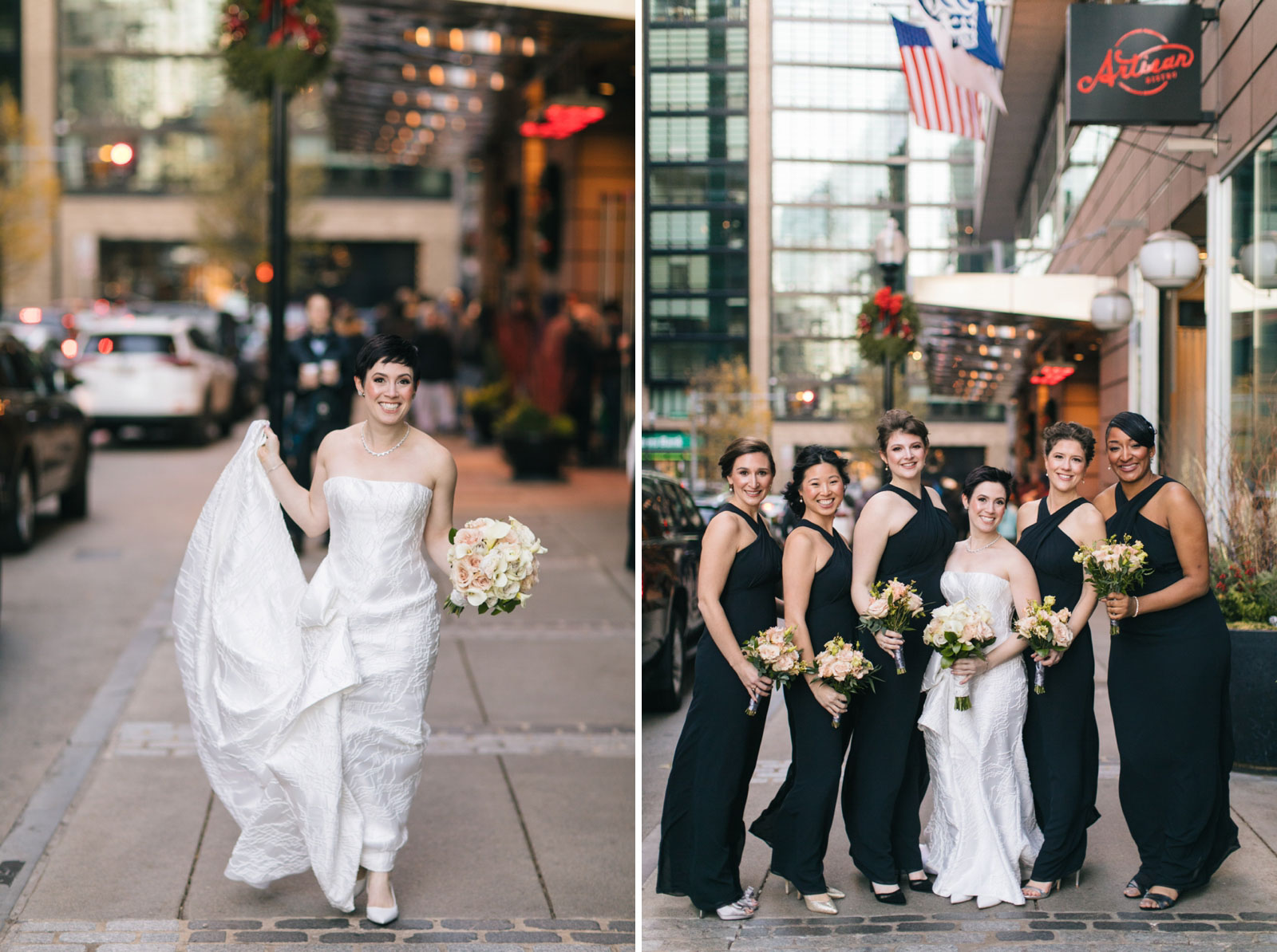 bridesmaids portraits walking around the streets of Boston in winter in front of the Ritz-Carlton