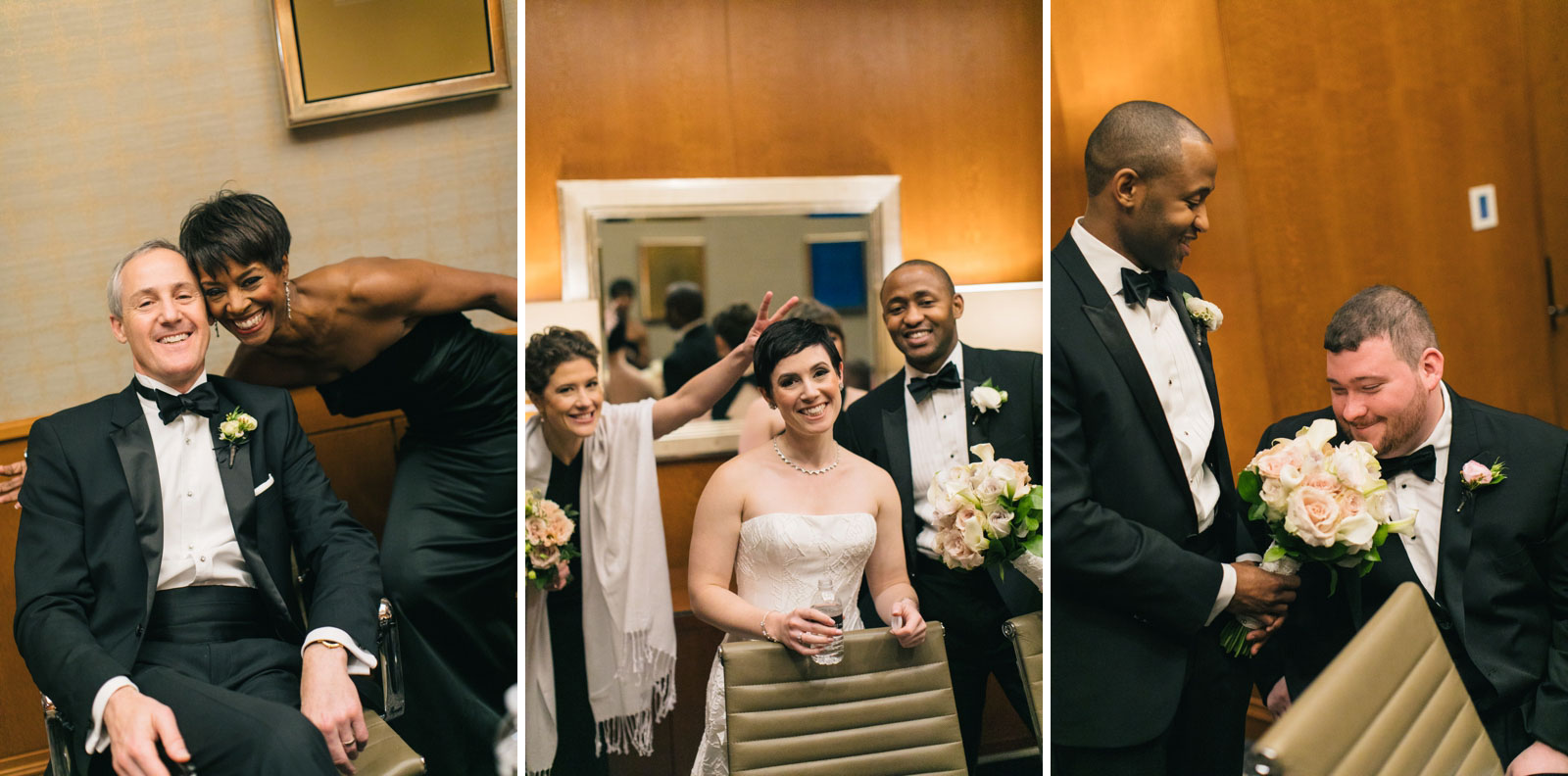 family and bridal party hanging out and having fun before wedding ceremony at Ritz-Carlton Boston