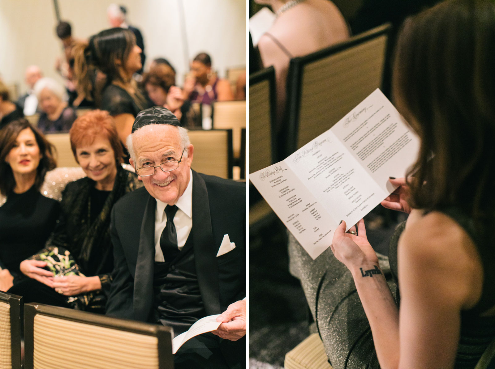 wedding guests read program for multicultural wedding ceremony and wait excitedly for ceremony