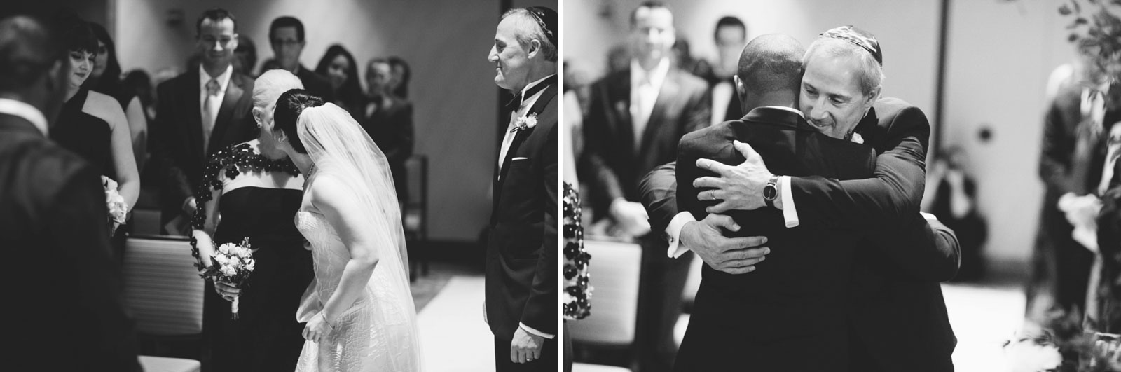 black and white shots of bride's parents giving her away at multicultural wedding ceremony