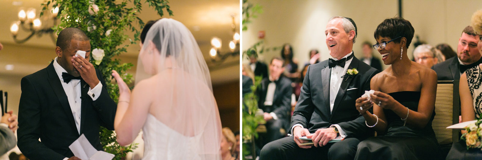 groom getting emotional while saying his vows to his bride, groom's family laughs and cries with him