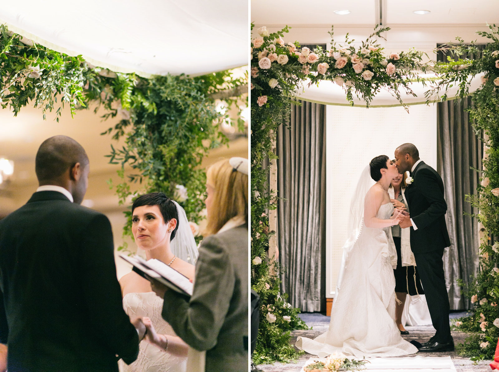 bride and groom share their first kiss at multicultural wedding ceremony at Ritz-Carlton Boston