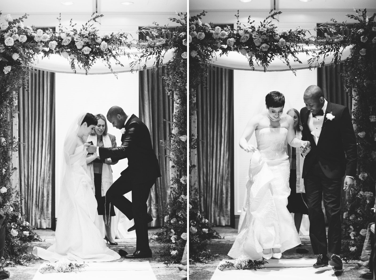 Groom breaking the glass and bride and groom jumping the broom at multicultural wedding ceremony