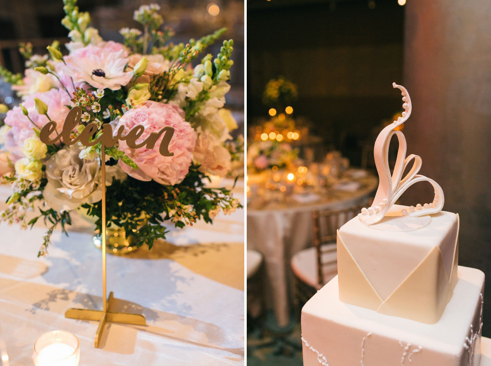 Gold calligraphy table number stands, pink and green pastel florals, elegant modern wedding cake