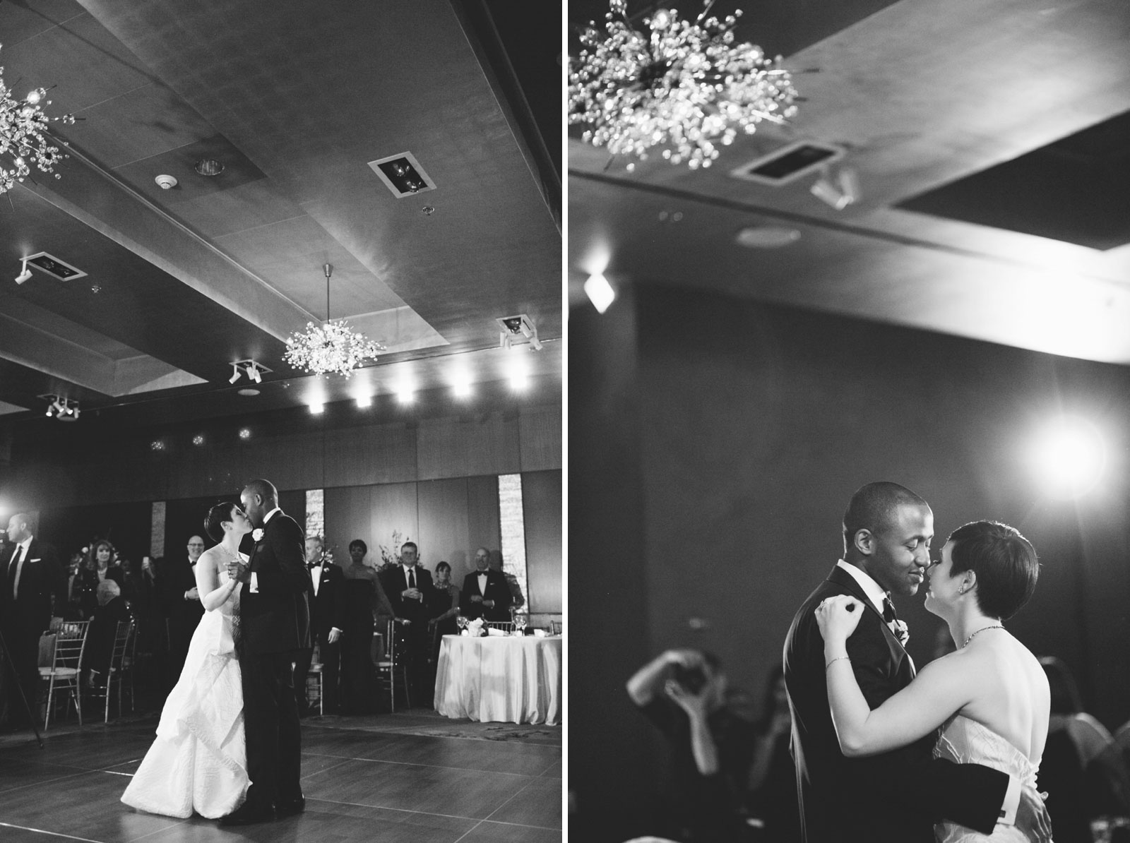 Romantic black and white shots of bride and groom sharing their first dance in Ritz-Carlton ballroom