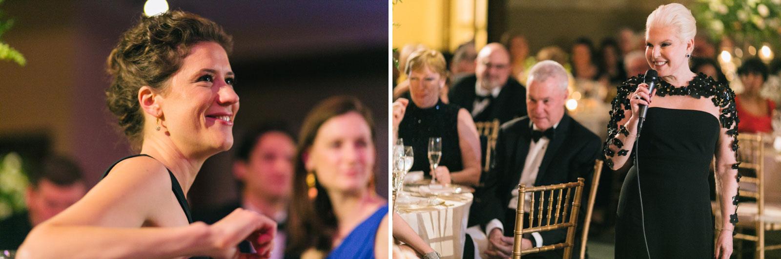 Wedding guests reactions during mother of the bride speech at modern black tie wedding in boston