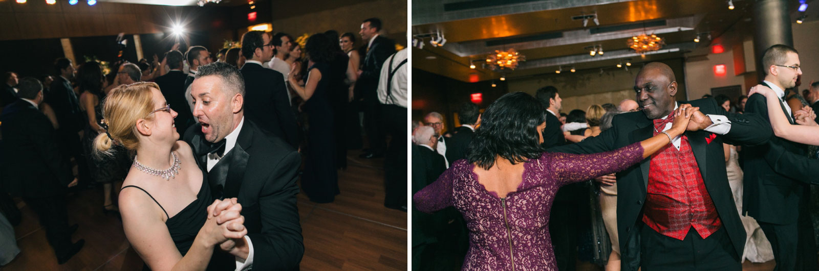 Couples having fun and dancing on the dance floor at modern romantic wedding reception in Boston