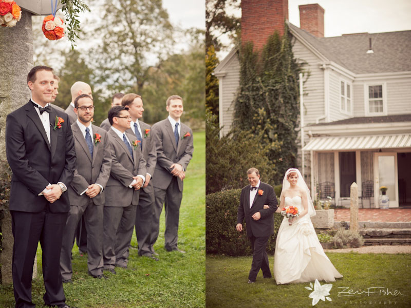 Tyrone Farm Wedding, Wedding Ceremony, Groomsmen, Bride and Father of the Bride, Connecticut Wedding