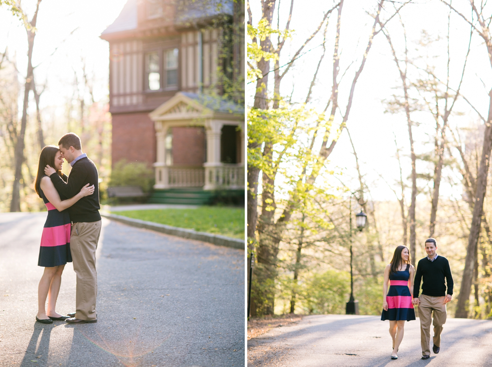 Intimate engagement portraits with golden hour light, couple walking together on Wellesley campus