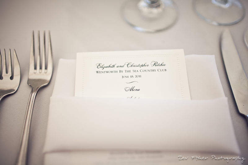 boston wedding photographers, zev fisher photography, wentworth country club wedding, wedding menu