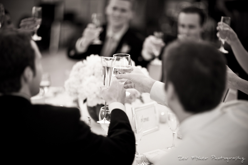 wentworth country club wedding, wedding reception, champagne toast, black & white wedding photograph